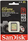 SanDisk Extreme 16GB UHS-I/U3 SDHC Memory Card Up To 60MB/s Read-SDSDXN-016G-G46 [Newest Version]