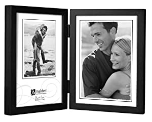 Malden International Designs Classic Concepts Vertical Black Wood Picture Frame, Holds Two 5 by 7-Inch Photos