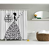 Bathroom Accessories 84 Inch Long Shower Curtains Madame Butterfly Black Chandelier Black Butterfly Princess Wedding Gown Extra Long Fabric Black White Shower Curtain
