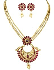 Karatcart 24K Goldplated Pink Traditional Jewellery Set For Women