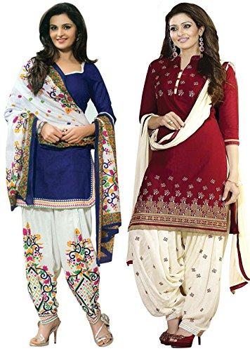 Sky Global Women's Printed Unstitched Regular Wear Salwar Suit Dress Material (Combo pack of 2)(SKY_501_Red)(SKY_518_Blue)