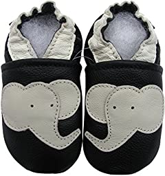 Carozoo Toddler Kids Unisex Elephant Black Soft Sole Leather Baby Shoes 12M 5-6y