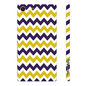 Sony Xperia M5 CHEVRON YELLOW AND PURPLE designer mobile hard shell case by Enthopia