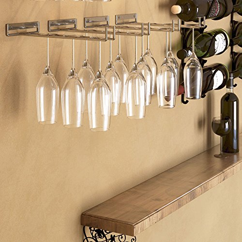 Stemware Glass Rack , Chrome Finish Wine Glass Hanger Storage Wall Mountable or Under Cabinet by Rack and Hook (Rack Wine Glasses compare prices)