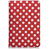 360 Degrees Rotating Red and White Polka Dot Pattern PU Leather Case for New iPad Mini Mini2 Mini3 7.9inch Tablet (Red Polka)
