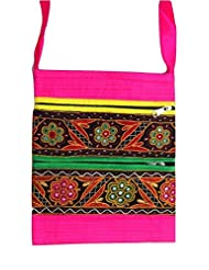 Ethnics Of Kutch Women's Raw Silk Kutch Handicraft Sling Bag With Traditional Ethnic Multi Coloured Handwork And...