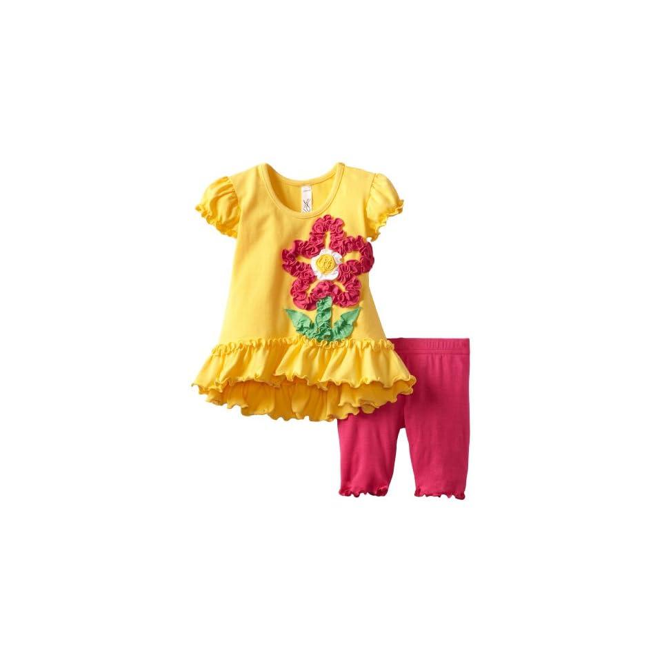 Love U Lots Baby Girls Cancan Tunic with Ruffle Flower Set Mid Calf Capri, Daffodil, 24 Months