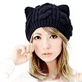 Fashion Women Girl Warm Winter Fall Wool Crochet Baggy Beret Beanie Hat Caps Cute Devil Horn Cat Ear Shape Knitted Hats Elastic Outdoor Ski Beanie Cap (Black)