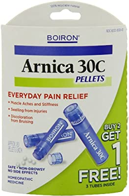 Boiron Homeopathic Medicine Arnica for Muscle Relief, 30C Pellets, 3- 80 Pellet Tubes (Pack of 2)
