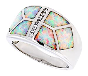 14K White Gold Plated Sterling Silver Synthetic Opal Inlay Dome Band in, with Brilliant Cut Cubic Zirconia stone Accents For Women 12MM ( Size 6 to 9) Size 6