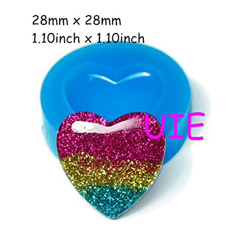 160LBP Heart Accessories Silicone Push Mold 28mm - Cabochon Miniature Food Marshmallow Mold, Cotton Candy Mold Baby Mold (Resin Molds Heart compare prices)
