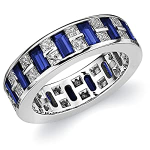 18K White Gold Diamond & Sapphire Eternity Ring (3.75 cttw, E-F Color, VVS1-VVS2 Clarity) Size 7.5