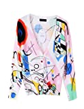 PrettyGuide Women V Neck Pure Cotton Colorful Graffiti Print Slim Knitted Cardigan Casual Sweater Tops Blouse