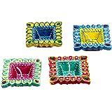 Diwali Decorative: Terracotta Set Of 4 Diya For Home Décor - Multicolor
