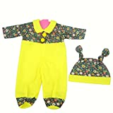 Highmall uk 16 Inches High Simulation Baby Dolls Clothes Rompers Suit 4 Yellow