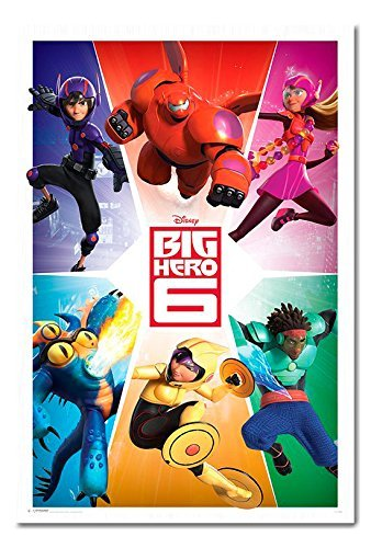 big-hero-6-equipe-poster-tableau-daffichage-magnetique-blanc-encadree-965-x-66-cm-environ-965-x-66-c