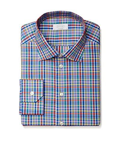 Eton Men's Contemporary Fit Checked Spread Collar Dress Shirt