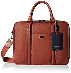 Ted Baker Men\'s Canvas and Leather Document Bag, Tan