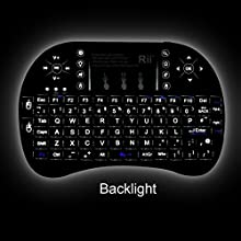 (Updated 2015,With Backlit)Rii i8+ 2.4GHz Mini Wireless KODI XBMC Keyboard with Touchpad Mouse ,LED Backlit, Rechargable Li-ion Battery, Soft Silicone button ,Raspberry Pi 2, MacOS,Linux, HTPC, IPTV, Google Android TV Box ,Windows XP Vista 7 8 10