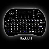 Rii i8+ Mini Wireless 2.4G BackLight Touchpad Keyboard with Mouse for PC/Mac/Android, Black (mwki8+)