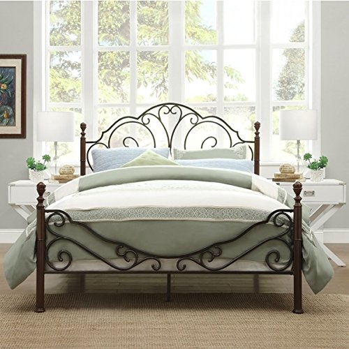 Cheapest Prices! LeAnn Graceful Scroll Bronze Iron Bed Frame (Queen)