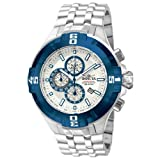 Invicta Mens Reef Pro Diver XXL Chronograph Silver Dial Blue IP Bezel Bracelet Watch 12363