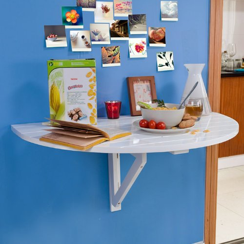 Table murale rabattable en bois table de cuisine pliable table enfant demi ronde couleur - Table de cuisine murale ...