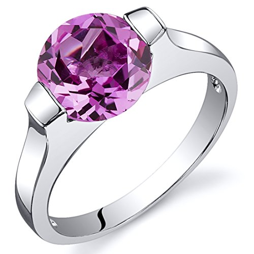 Created Pink Sapphire Bezel Ring Sterling Silver Rhodium Nickel Finish 2.75 Carats Size 6 (Sterling Gem Rings compare prices)