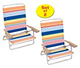 Rio High Back Beach Chair - 5 position LayFlat - Matching Set Of 2 1308
