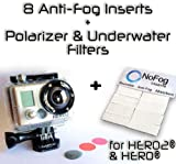 The Accessory Pro® Bundle - 8 Anti-Fog Inserts, Polarizer, Red, Magenta Filters compatible with all GoPro® Hero2 cameras