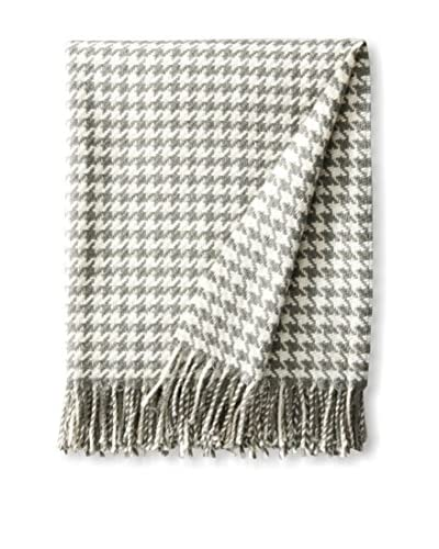 Foxford Merino Hounds Tooth Throw, Aqua/Bone