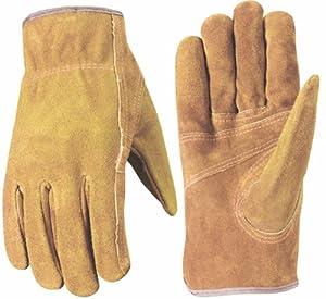 Wells Lamont 1015M Suede Work Gloves with Bucktan Split Cowhide, Patch Palm, Double Shirred Wrist, Medium