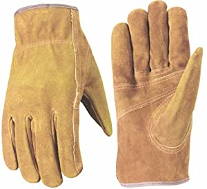 Wells Lamont 1015M Suede Work Gloves with Bucktan Split Cowhide, Patch Palm, Double Shirred Wrist, Medium