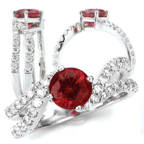 18K Elite Collection Chatham Lab-Created 6.5Mm Round Ruby Engagement Ring With Twisted Diamond Band