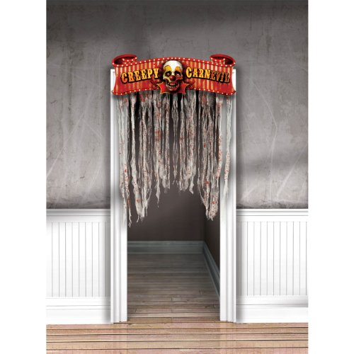 Creepy Carnival Doorway Curtain and Sign