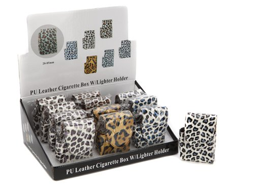 Brand new Plastic Coated Animal Fur Design Cigarette Box & Lighter Holder
