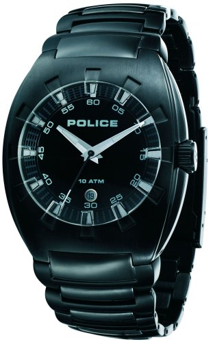 Police 'Alert' Gents Black IP Bracelet Watch With Black Dial