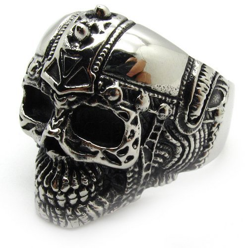 High Quality Wholesale Men's Jewelry Silver Knight Skull Finger Ring Biker Party Ring Stainless Steel