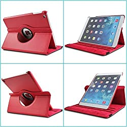 TGK 360 Degree Rotating Leather Case Cover Stand For iPad 4, iPad 3, iPad 2 - Red