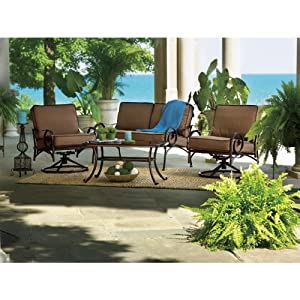 Living accents tuscany 4 piece deep seating chat set for Living accents patio furniture