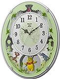 リズム時計 Disney くまのプーさん 電波 からくり キャラクター 時計 M523 ホワイト 4MN523MC03