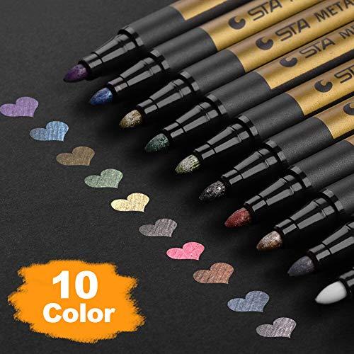Premium Metallic Marker Pens, DealKits Set of 10 Assorted Colors Paint Pen for Scrapbooking Crafts, DIY Photo Album, Art Rock Painting, Card Making, Metal and Ceramics, Glass - Medium Bullet Tip [+Peso($47.00 c/100gr)] (US.AZ.9.49-0-B07GPPJD37.86)