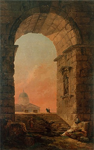 Oil Painting 'Robert, Hubert_1773_Landscape-An Arch And The Dome Of St Peter' s In Rome' 18 x 29 inch / 46 x 73 cm, on High Definition HD canvas prints, gifts for Bar, Kitchen And Laundry Room decor (Wax Pen Dome compare prices)