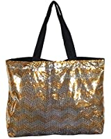 N Gil Chevron Collection Sequin X Large Tote Bag 24-inch
