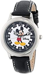 Disney Kids' W000243  Mickey Mouse Stainless Steel Time Teacher Watch with Black Leather Band