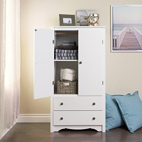 Prepac Monterey White 2-Door Armoire