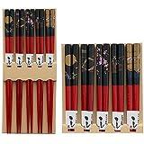 Bamboo Chopsticks Gift Set Wave Design (Scenery Red Color)