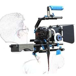 eimo Épaulière professionnelle pour appareil photo réflex numérique + Follow Focus + Matte Box + Plateforme ajustable + Support cage en forme de C + Poignée supérieure pour tous les appareils photo réflex numériques et caméscopes