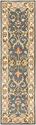Blue Rug Traditional Design 2-Foot 3-Inch x 12-Foot Hand-Made Traditional Wool Carpet