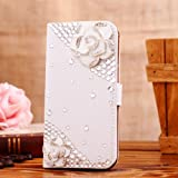 Locaa(TM) For HTC One M8 (HTC M8) 3D Bling Cases Deluxe Luxury Crystal Pearl Diamond Rhinestone eye-catching Beautiful Leather Retro Support bumper Cover Card Holder Wallet Case - [General series] camellia flower